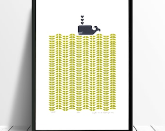 """Fine Art Print """"Whale"""" (Chartreuse) A3 size - FREE Worldwide Shipping"""