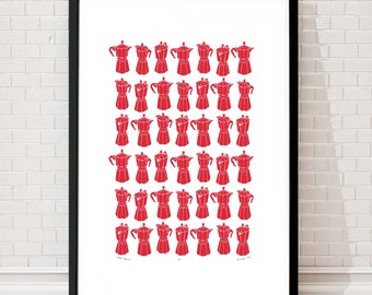 "Fine Art Print ""Moka Express"" Coffee Pots (Firetruck Red) - FREE Worldwide Shipping"