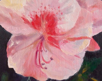 Small Oil Painitng, The Last Azalea, 3x4 Oil on Wood Panel, Framed Floral Painting, Pink and Black