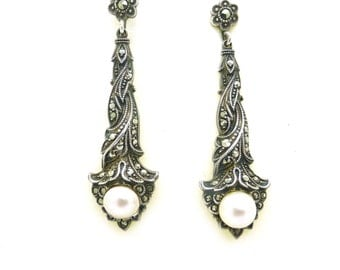 Art Deco Silver Pearl marcasite earrings 1920s Antique Gatsby Flapper dangle screw back fitting Vintage Wedding Bridal jewelry 935 Sterling
