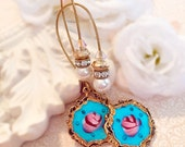 Best Valentines Gifts for Her - Victorian Jewelry - Blue Rose Earrings  -  Romantic Jewelry Gift - Enamel Earrings - SWOON Blue