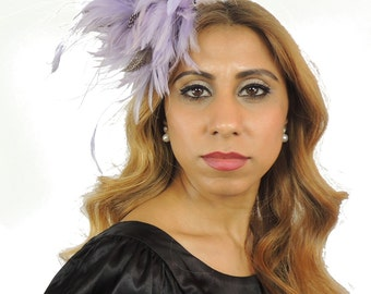 Lilac Guinea Fascinator Hat for Kentucky Derby, Weddings and Christmas Parties