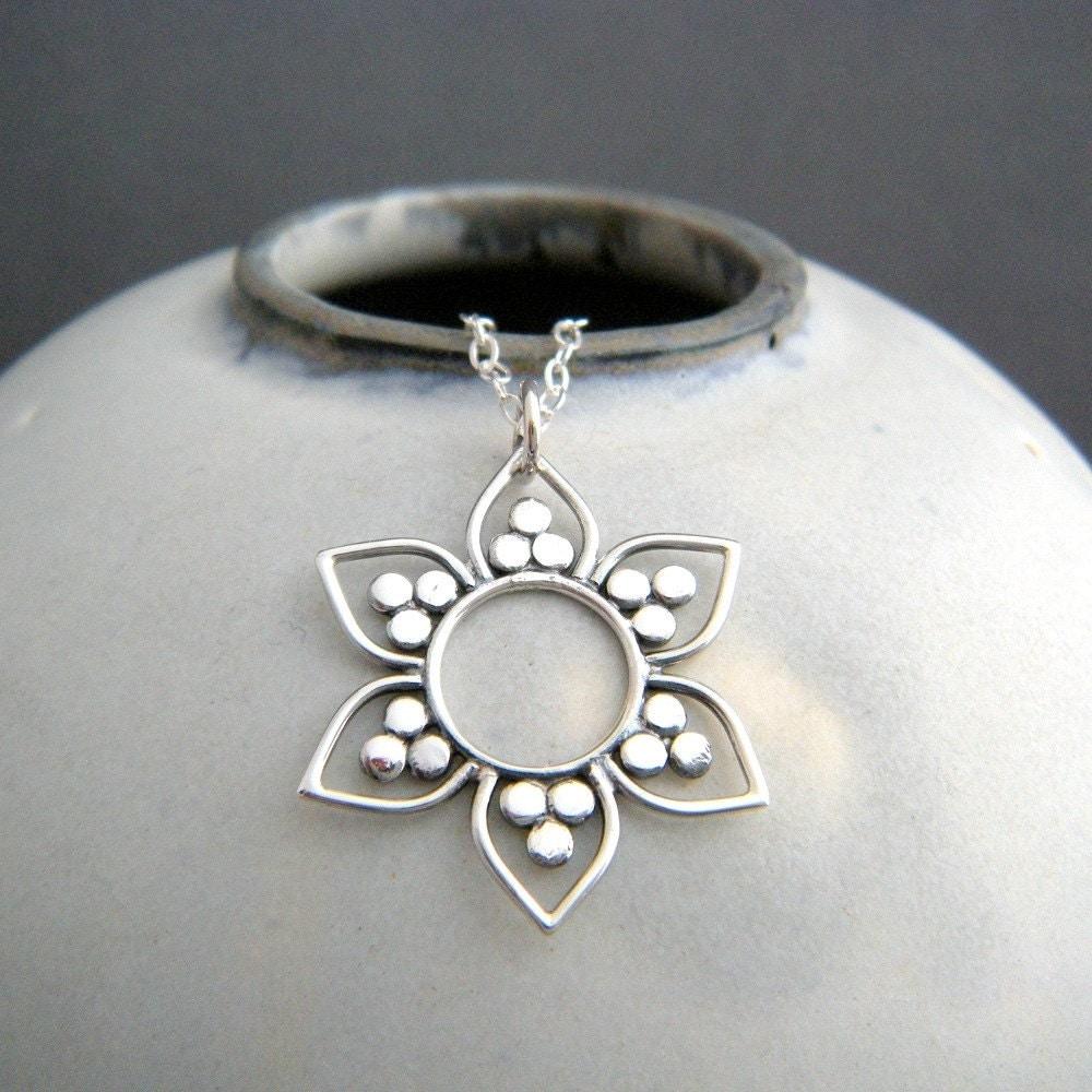 Lotus Flower Necklace Sterling Silver Yoga Sun Pendant Dot