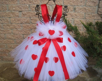WHITE RED HEARTS.  Valentine's Day Tutu Dress.  Birthday Tutu Dress. Flower Girl Gown.  Photo Shoots.  White Tutu Dress. Girl Tutu Dress.