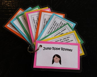 Jump Rope Rhymes, Ten Laminated Cards on a Ring