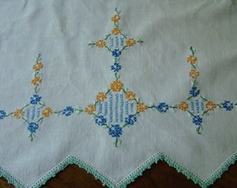 Vintage Cross Stitched Crochet Edge Runner