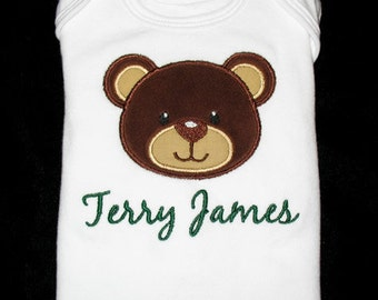 Custom Personalized Applique BEAR and Words or Name Bodysuit or Shirt - Brown, Tan, Green, and Yellow Gold