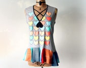 Colorful Tank Top Patchwork Clothes Criss Cross Neckline Womens Heart Shirt Bohemian Hippie Rustic Clothing Sleeveless T-Shirt M 'ANNABELL'