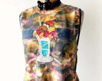 Ice Cream Shirt Upcycled Clothes Sleeveless T-Shirt Recycle Denim Fit Flare Boho Women's Top Wearable Art Fun Food Applique Eco Wear L 'LUCY