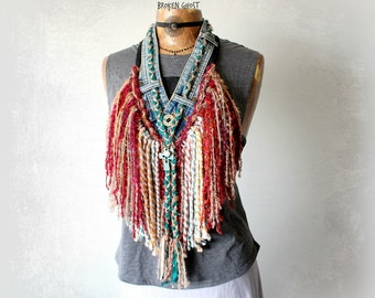 Fringed Necklace Chic Boho Scarf Tribal Clothing Recycle Upcycle Jeans Braided Jewelry Bohemian Hippie Burning Man Coachella Scarf 'BIJOU'