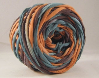 T-Shirt Yarn - Teal Terra Cotta - Black - 60 Yards - T Shirt Yarn - Recycled Yarn - Coon Yarn - Fabric Yarn - Chunky Yarn - Upcycled Yarn