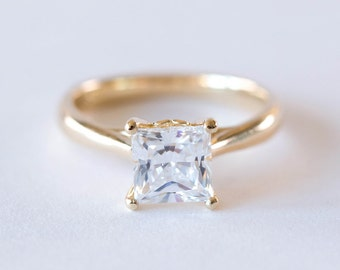 Princess Cut Engagement Ring | Square Cut Forever One Moissanite Wedding Ring | Solitaire Gold Diamond Engagement Ring [The Estée Ring]
