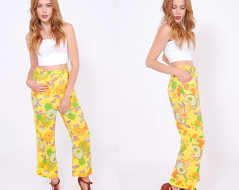 Vintage 60s FLORAL Pants  Cropped MOD Flared Pants HIPSTER Summer Pants Printed Pants Hippie Pants