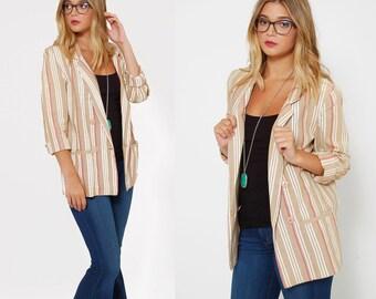 Vintage 80s Striped Blazer DIANE VON FURSTENBERG Blazer Striped Spring Jacket Indie Hipster Blazer