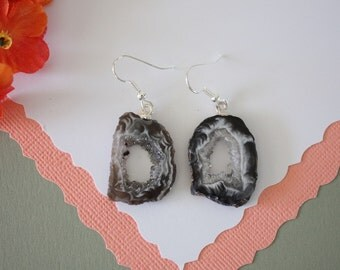 Geode Earrings, Crystal Slice Earrings, Agate, Druzy Natural Earrings, Boho Earrings, Natural Rocks, GNE22