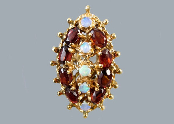 MASSIVE vintage estate 14k gold opal garnet cocktail statement navette ring