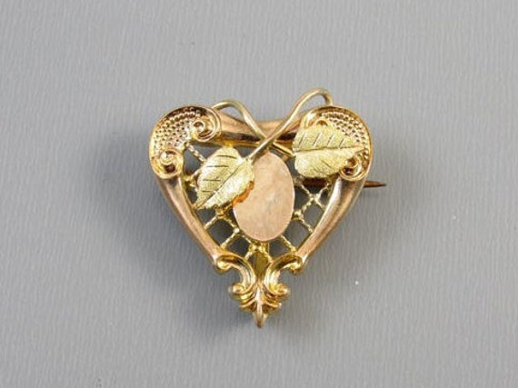 Antique Edwardian gold filled lattice work heart shaped brooch pin with hook back attachment watch pin signed Plainville Stock Co j365
