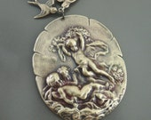 Vintage Pendant - Angel Pendant - Brass Stamping - Large for Necklace - handmade pendant