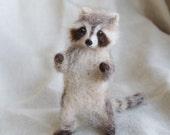 Raccoon Needle Felted Baby