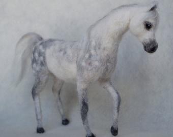 Arabian Horse Needle Felt Dapple Grey
