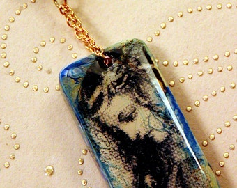 Altered Domino Shakespeare's OPHELIA Necklace Black Blue Gold Marbled Lampwork Bead Goldtone Chain