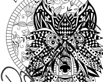 Coloring page - Do the impossible, Mandala and tangled wolf with theme for meditation and inspiration