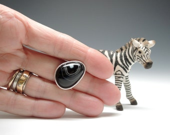 Brazilian Agate Ring, Tuxedo Agate, Black and White Stone Ring, Sterling Silver, Handcrafted
