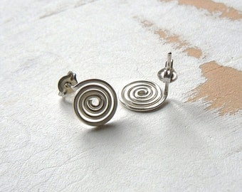 Spiral Post Earrings in Sterling Silver, Minimalist Jewelry, Hand Forged Earrings, Geometric Jewellery, Artisan Earrings, Metalwork Earrings