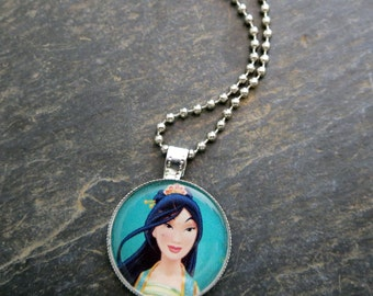 Disney Princess Mulan Photo Necklace Princess Backpack Charm Mulan Keychain Birthday Party Gifts for Little Girls