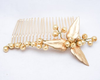 Gold Leaf Wedding Hair Decorative Comb with Gold Metal Leaves and Gold Pearls, Bridal Headpiece, Golden Wedding Hair Accessory