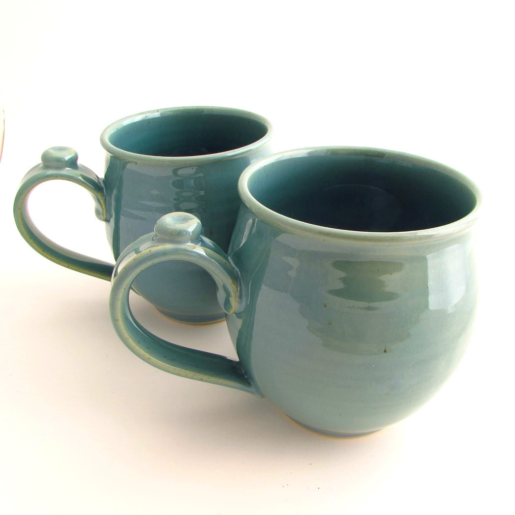 Set Of Two Handmade Pottery Stoneware Mugs In Robin 39 S Egg