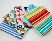 "Lunchbox Napkins, Set of 5 for Kid's School Lunch, 11"" REVERSIBLE, Durable, Double Sided, Reusable, Eco friendly -- designer cotton fabrics"