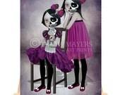 Artist Trading Card - Big Eyes Art - Twin sisters Art - Goth Girl Art - The Outsiders