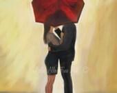 "Couple Art Print Couples Wall Decor  Kissing Couple in Love Red Umbrella Romantic Art Print  ""Bright Future"" Leslie Allen Fine Art"