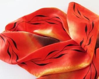 Orange Silk Scarf, Hand Painted Orange Silk Scarf, Orange Scarf, Hand Painted Silk Scarf, Yellow Silk Scarf, Black Leaf Design, Gift For Her