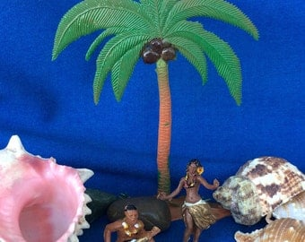 Vintage Hula Girl, Ukulele Guy and Palm Tree Cake Cupcake Decoration Toppers Retro 60's 70's