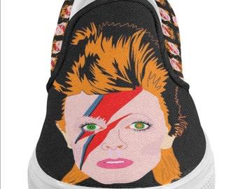 ZIGGY rebel rebel STARMAN changes major tom men's slip on shoes... original illustration