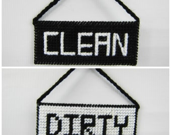 Clean/Dirty Dishwasher Sign, black white sign, housewarming gift, plastic canvas, handmade craft gifts for the kitchen home, gifts ala carte