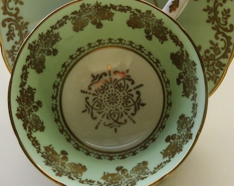 Vintage Green Gilt China Trio - Cup Saucer Plate, , Decorative China, Grosvenor China,