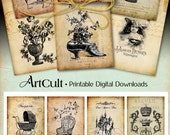 Digital Download CHIC EPHEMERA TAGS Digital Collage Sheet Printable Vintage images Jewelry Holders for Paper scrapbooking greeting cards