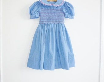 SALE // Vintage Blue Smocked Girl's Dress