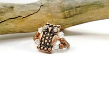 Rhinestone Owl Cocktail Ring, Crystal Ring, Stretch Ring, Copper Ring, Gift for Her, Crystal Owl Ring