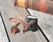 Green Mini Leather Journal Necklace, Book Pendant