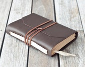 Brown Leather Journal with White Ribbon Bookmark