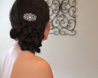 Bridal hair comb, Rose Gold Wedding headpiece, Crystal hair clip, Wedding hair pin, Vintage hair comb, Wedding hair accessory, CZ hair comb