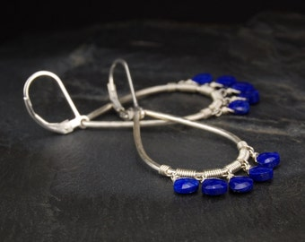 Lapis earrings, silver drop hoop earrings, secure leverback earrings