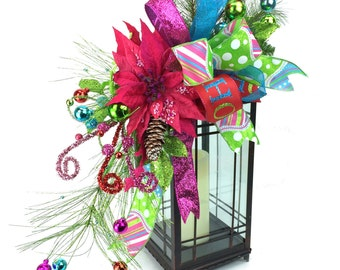 Hot Pink Poinsettia Christmas Lantern Swag with Turquoise & Lime Green Ornaments and Matching Bow -Christmas Mantle -Christmas Table De