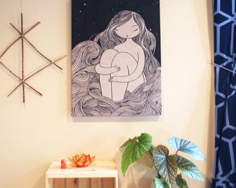 Sea of Hair - original acrylic ink painting on raw natural linen