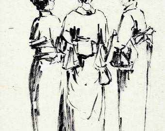 original ink drawing on handmade paper of Japanese ladies in kimono