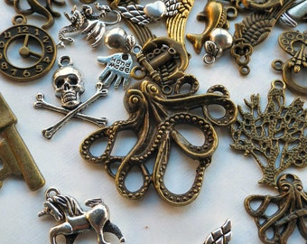 Metal Charms, 3 1/2 oz assortment, steampunk jewelry supply, wings, keys, pirate, gears, kraken, clock face, anchors, nautical, diecast